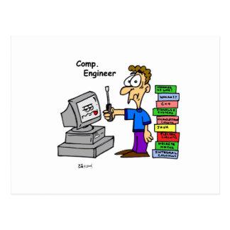Dibujo animado del ingeniero informático postales