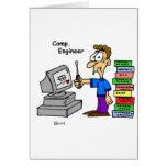 Dibujo animado del ingeniero informático tarjeton