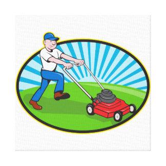 Dibujo animado del jardinero del hombre del cortac lona envuelta para galerias