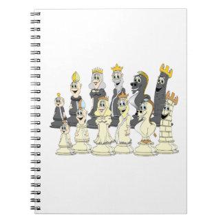 Dibujo animado del juego de ajedrez cuaderno