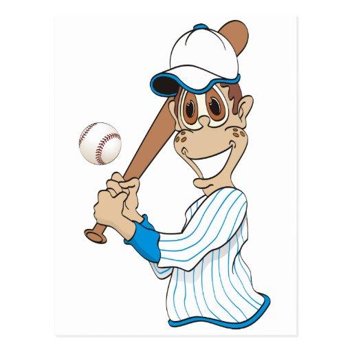 Dibujo animado del jugador de béisbol tarjetas postales