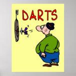 Dibujo animado del jugador de dardos poster