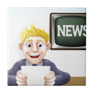 Dibujo animado del lector de noticias tejas  cerámicas
