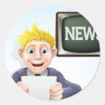 Dibujo animado del lector de noticias pegatinas redondas