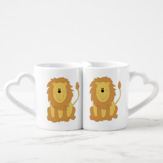 Dibujo animado del león taza amorosa
