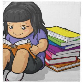 Dibujo animado del libro de lectura de la estudian servilletas de papel