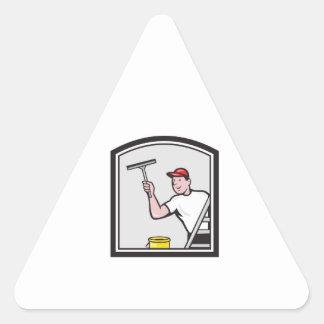 Dibujo animado del limpiador de la lavadora de pegatina triangular