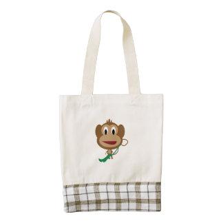 Dibujo animado del mono bolsa tote zazzle HEART