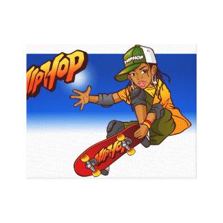 Dibujo animado del monopatín del chica de Hip Hop Impresión De Lienzo