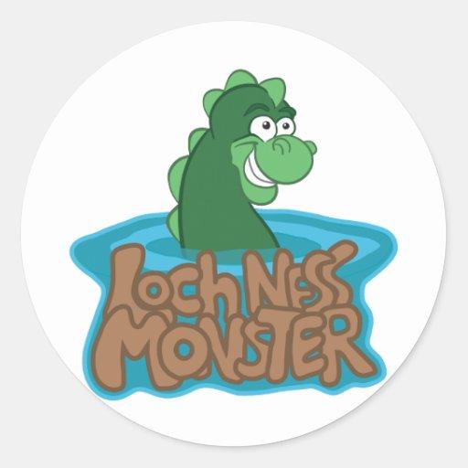 Dibujo animado del monstruo de Loch Ness Etiqueta Redonda