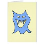 Dibujo animado del monstruo en azul tarjeta de felicitación