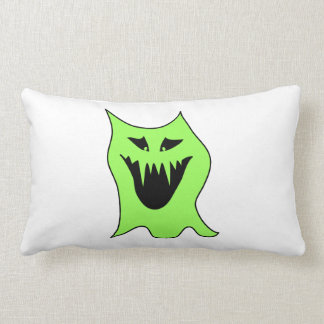 Dibujo animado del monstruo. Verde y negro Cojín