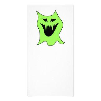 Dibujo animado del monstruo. Verde y negro Tarjeta Personal Con Foto