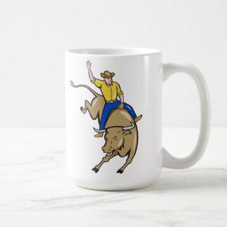 Dibujo animado del montar a caballo de Bull del va Tazas De Café