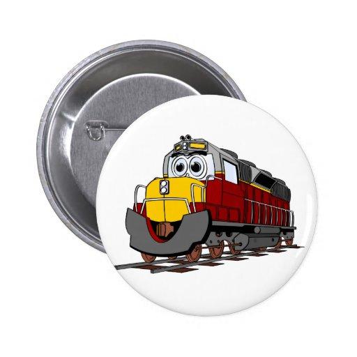 Dibujo animado del motor del tren de Borgoña Pin Redondo 5 Cm