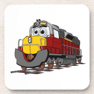 Dibujo animado del motor del tren de Borgoña Posavasos De Bebidas