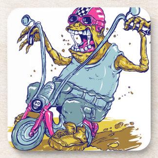 Dibujo animado del motorista de la motocicleta del posavaso