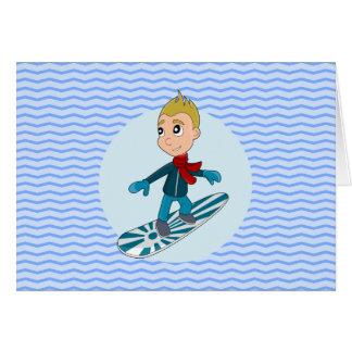 Dibujo animado del muchacho de la snowboard tarjeta pequeña