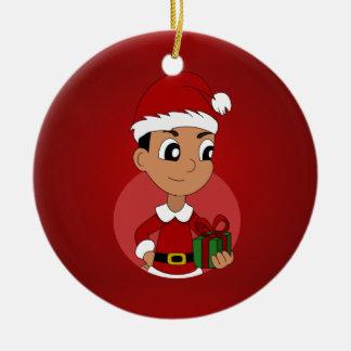 Dibujo animado del muchacho del navidad adorno redondo de cerámica