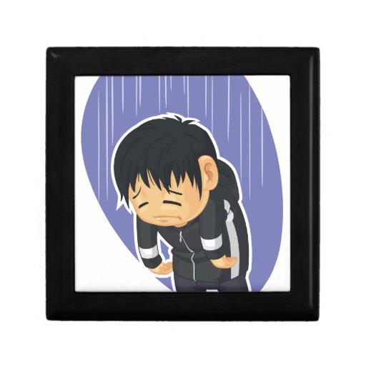 Dibujo animado del muchacho triste caja de joyas
