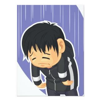 """Dibujo animado del muchacho triste invitación 5.5"""" x 7.5"""""""