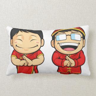 Dibujo animado del muchacho y del chica chinos almohada