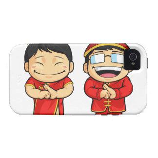 Dibujo animado del muchacho y del chica chinos iPhone 4 fundas