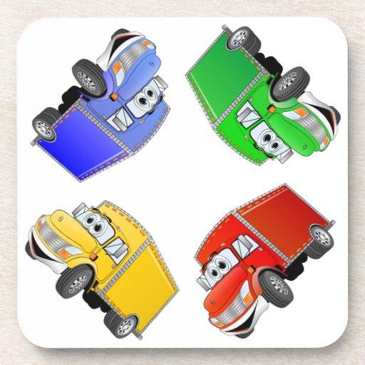 Dibujo animado del multicolor del camión de repart posavaso