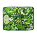 Dibujo animado del mundo del monstruo en verde funda para macbook pro