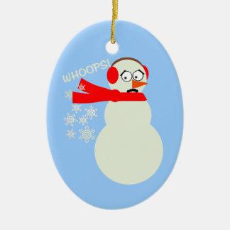 Dibujo animado del muñeco de nieve el Farting Ornamento De Navidad