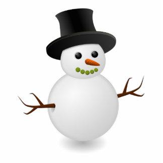 Dibujo animado del muñeco de nieve esculturas fotograficas