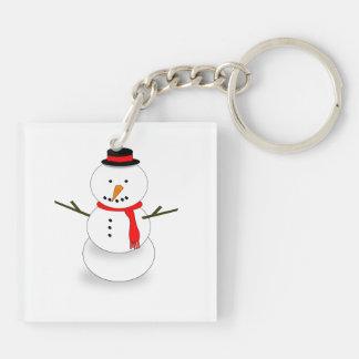 Dibujo animado del muñeco de nieve llavero cuadrado acrílico a doble cara
