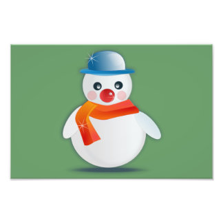 Dibujo animado del muñeco de nieve impresion fotografica