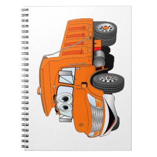 Dibujo animado del naranja del árbol del camión vo libreta espiral