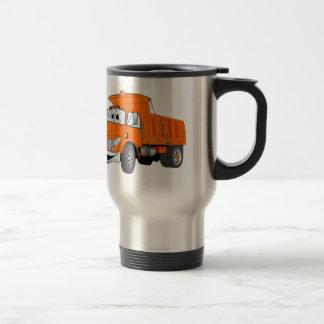 Dibujo animado del naranja del árbol del camión vo taza de café