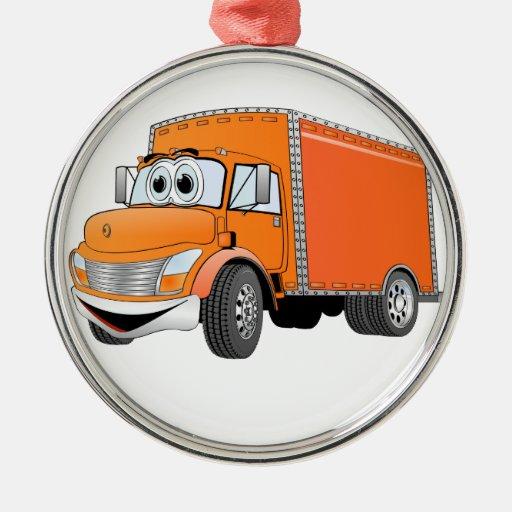 Dibujo animado del naranja del camión de reparto adorno navideño redondo de metal