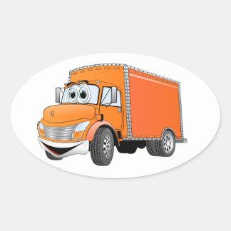 Dibujo animado del naranja del camión de reparto pegatina ovalada