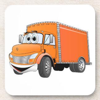 Dibujo animado del naranja del camión de reparto posavasos de bebida