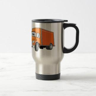 Dibujo animado del naranja del camión de reparto taza térmica