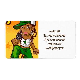 dibujo animado del naranja del verde del chica del etiquetas de envío