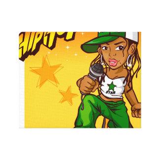 dibujo animado del naranja del verde del chica del lona estirada galerias
