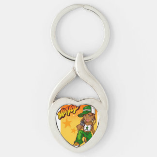 dibujo animado del naranja del verde del chica del llavero plateado en forma de corazón