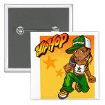 dibujo animado del naranja del verde del chica del pin cuadrado