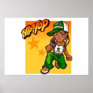 dibujo animado del naranja del verde del chica del póster