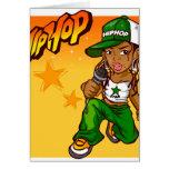 dibujo animado del naranja del verde del chica del tarjeta de felicitación