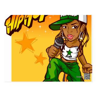 dibujo animado del naranja del verde del chica del postal