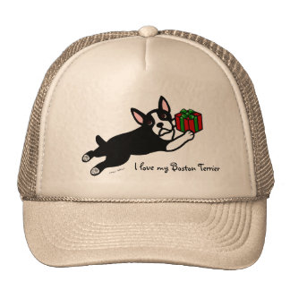 Dibujo animado del navidad 2 de Boston Terrier Gorros