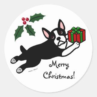 Dibujo animado del navidad 2 de Boston Terrier Pegatina Redonda