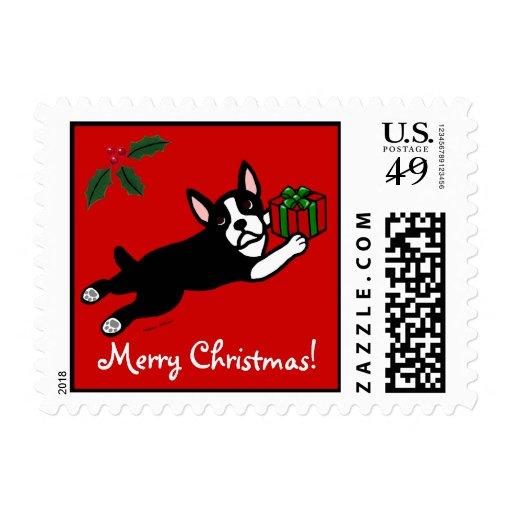 Dibujo animado del navidad 2 de Boston Terrier Sello Postal