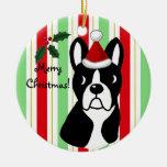 Dibujo animado del navidad de Boston Terrier Ornamentos De Reyes Magos